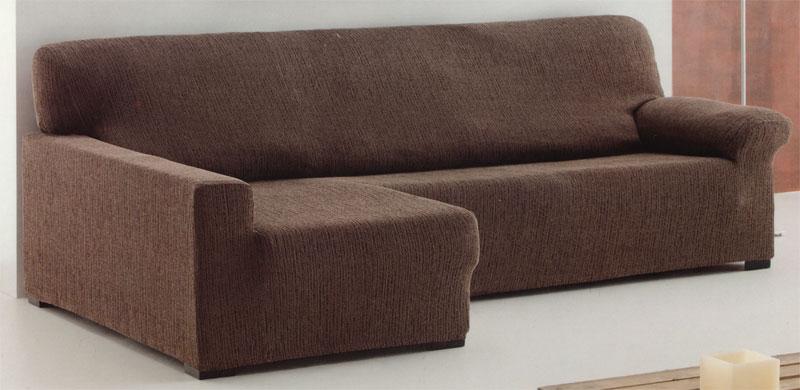 Funda de sof chaise longue el stica tejido tierra medida - Funda para cheslong ...