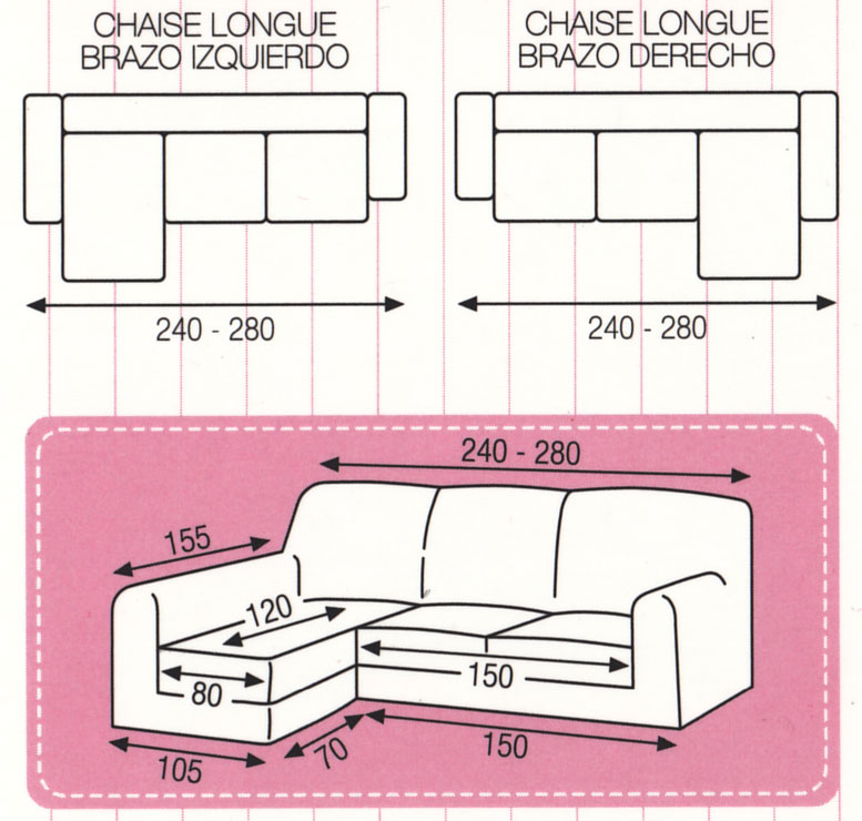 Funda de sof chaise longue el stica tejido mercurio for Cheslong dos plazas